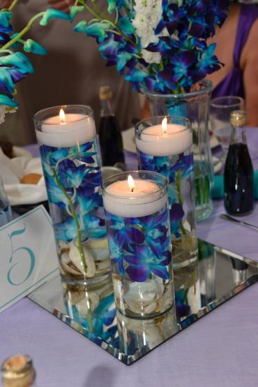 Three Tier Clear Glass Cylinders/Blue Bom Orchids/Floating Candl