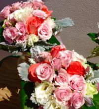 Lisianthus/Spray Roses/Coral Rose Bouquet