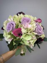 Hydrangea Bouquet with Calla Lilies and Lavender Roses