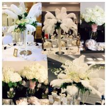 Great Gatsby Flowers, Feathers & Pearls Wedding Centerpieces