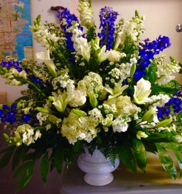 Large Blue & White Funeral Urn Arrangement