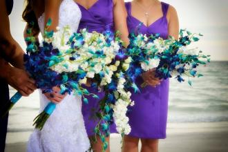 Blue Bom Orchid/White Stock Bridesmaids Bouquets
