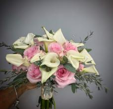 Calla Lilies, Pink Roses Bouquet