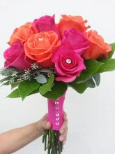 Orange & Hot Pink Rose Bouquet