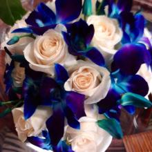Creamy Ivory Roses & Blue Bom Dendrobium Bloom Bouquet