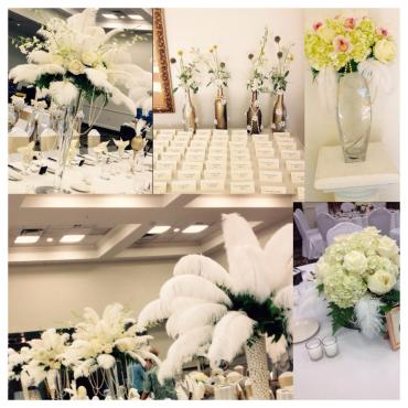 "All White ""Great Gatsby\"" Flowers, Feathers & Pearl Centerpieces"