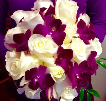 Creamy white roses/Purple Sonia orchid bouquet